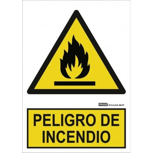 Señal peligro de incendio A4 Y A3