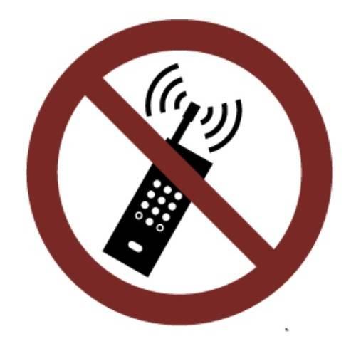PROHIBIDO USAR TELÉFONO MÓVILES ADHESIVO 9 CM