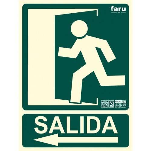SEÑAL SALIDA HACIA IZQUIERDA (imagen con puerta señalizada e indicadora) 22.4 x 30 cm.