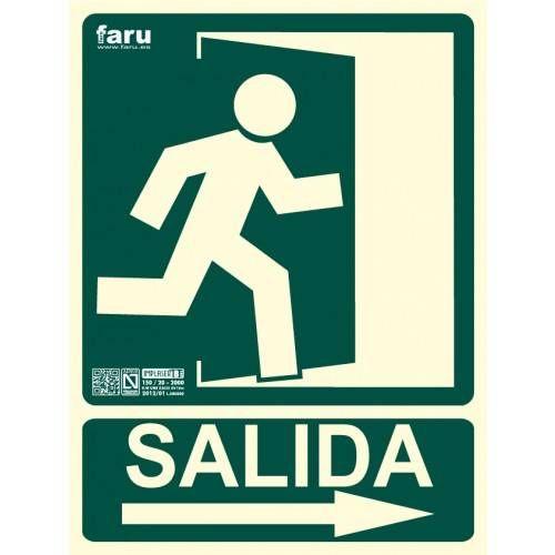 SEÑAL SALIDA HACIA DERECHA (imagen con puerta señalizada e indicadora) 22.4 x 30 cm.