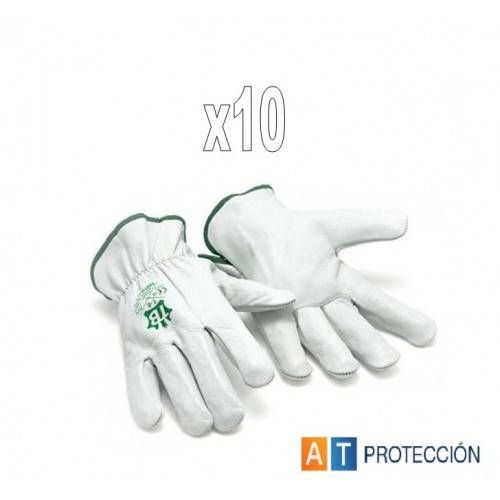 Pack 10 pares Guantes conductor piel blancos