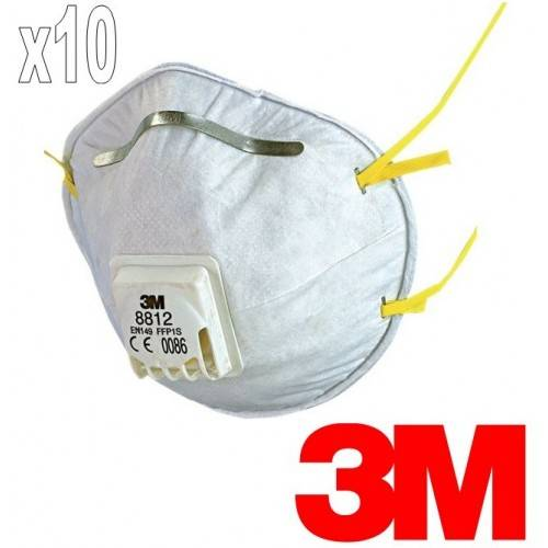 Pack 10 mascarillas 3M 8812 FFP1 con válvula
