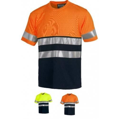 Camiseta alta visibilidad bicolor manga corta C3941